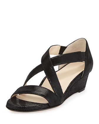 Saraia Crisscross Low-Wedge d'Orsay Sandal, Black
