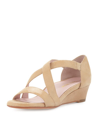 Saraia Crisscross Low-Wedge d'Orsay Sandal, Bone