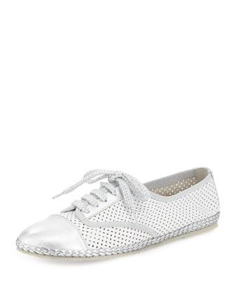Logan Perforated Napa Sneaker, White