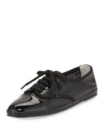 Logan Perforated Leather Sneaker, Black