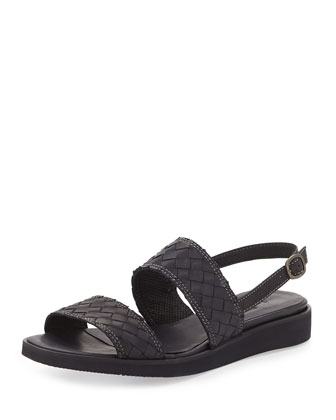 Greta Woven Leather Sandal, Black