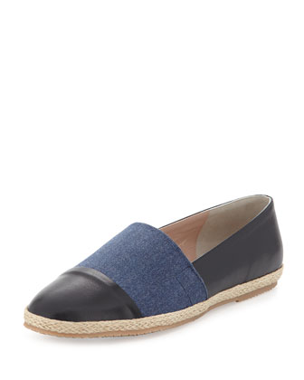Lorie Napa Cap-Toe Slip-On, Navy