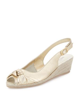 Loren Knotted Slingback Sandal, Gold