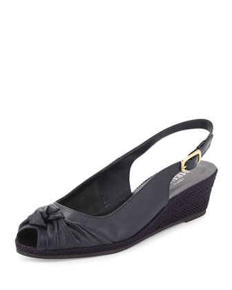 Loren Knotted Slingback Wedge, Navy