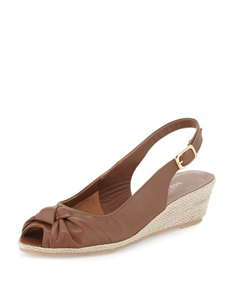 Loren Knotted Slingback Sandal, Cuoio