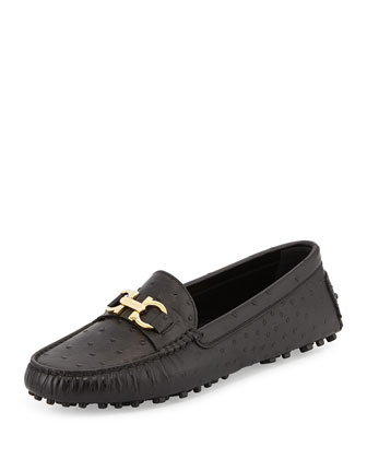 Saba Ostrich-Embossed Loafer, Black