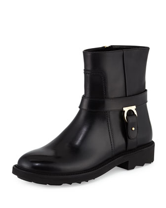 Lampo Leather Moto Boot, Nero
