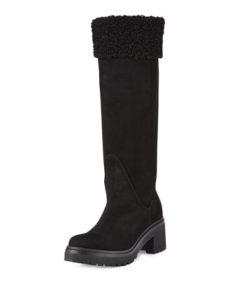 Cernobbio Quilted Shearling Fur-Lined Suede Boot, Black
