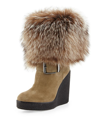 Marguerite Fur-Cuff Wedge Boot, Dark Beige