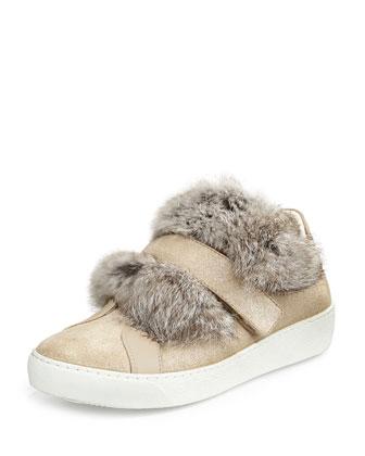 Lucie Glittered Fur Sneaker, Beige