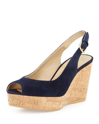 Jean Slingback Wedge Sandal, Nice Blue