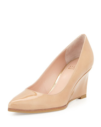 Nova Pointed-Toe Wedge Pump, Adobe