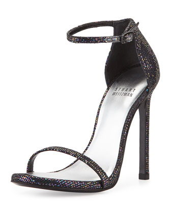 Nudist Glitter Leather Sandal, Multi