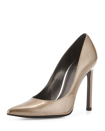 Queen Coated Leather Pump, Oxide