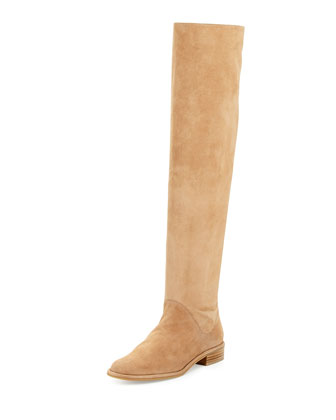 Rockerchic Flat Suede Boot, Cashew
