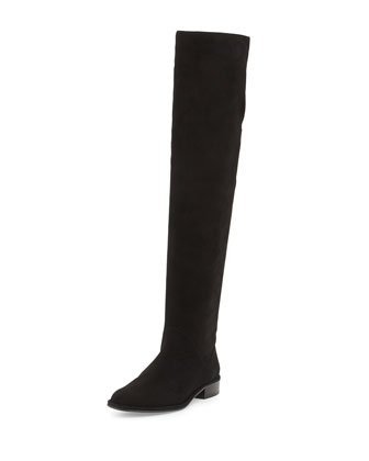 Rockerchic Flat Suede Boot, Black