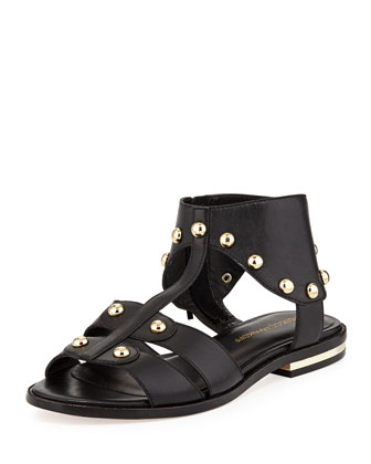 Shay Studded Leather Sandal, Black