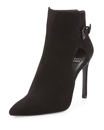 Sideview Cutout Suede Ankle Bootie, Black