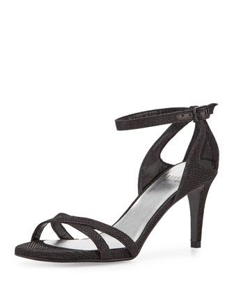 Speedy Strappy Mid-Heel Sandal, Black