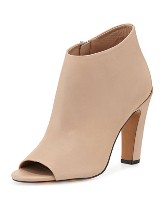 Sierra-2 Leather Peep-Toe Bootie, Nude
