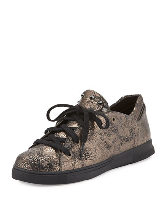 Touchdown Crackled Leather Sneaker, Moro