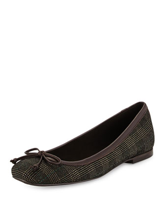 Shoestring Plaid Ballerina Flat, Brass