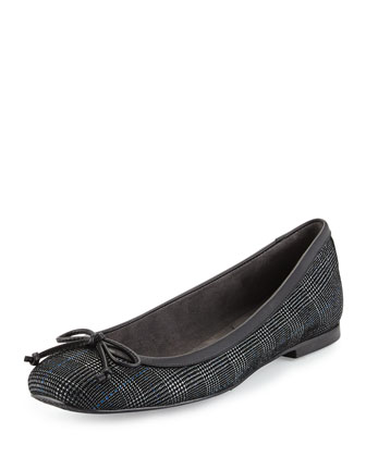 Shoestring Plaid Ballerina Flat, Pewter/Scotch