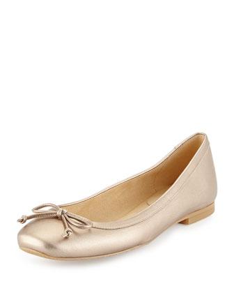Shoestring Metallic Ballerina Flat, Feldspar Gold