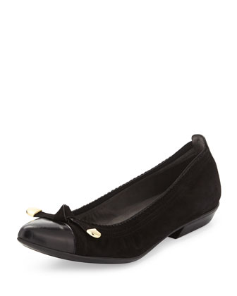 Bowgaloo Knotted Cap-Toe Flat, Black