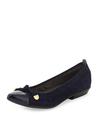 Bowgaloo Knotted Cap-Toe Flat, Nice Blue