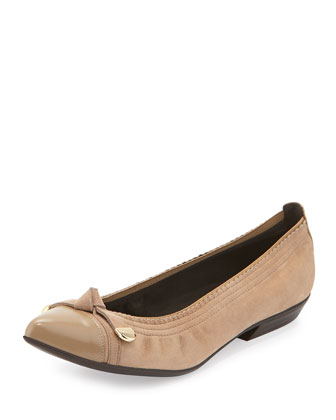 Bowgaloo Knotted Cap-Toe Flat, Cashew