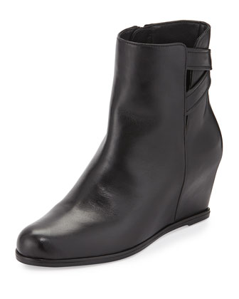 Fitness Leather Wedge Bootie, Black