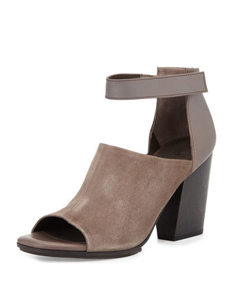 Diena Suede Cutout Bootie, Light Gray