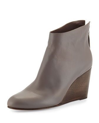 Escuro Leather Wedge Bootie, Medium Gray (Parma)
