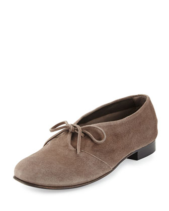 Illite Suede Lace-Up Flat, Light Gray (Fog)
