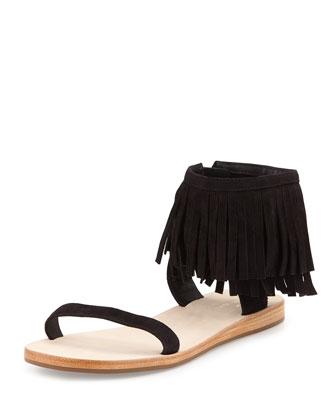 alex flat fringe-cuff sandal, black
