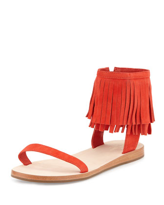 alex flat fringe-cuff sandal, cherry