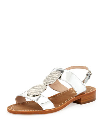 breana crystal-ornament sandal, silver