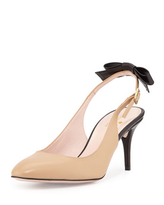 chiara two-tone slingback pump, natural/black