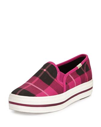 decker plaid slip-on sneaker, pink
