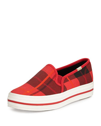 decker plaid slip-on sneaker, red