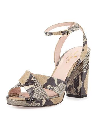 honey platform snake-print sandal, beige/multi