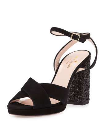 honey platform glitter sandal, black