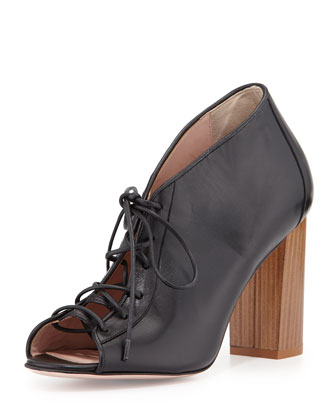 inella lace-up leather bootie, black
