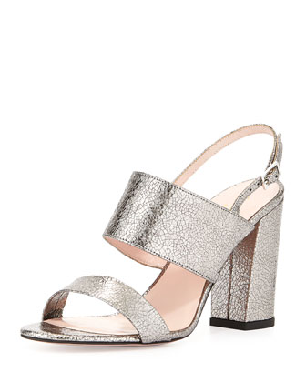 irvine metallic leather slingback sandal, aluminum