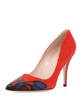 lena suede butterfly pump, maraschino red