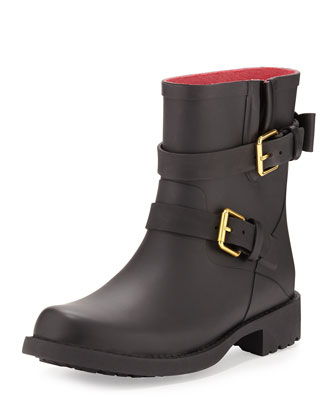 pamela moto rubber rain boot, black