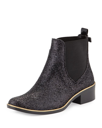 sedgewick glitter ankle rainboot, black