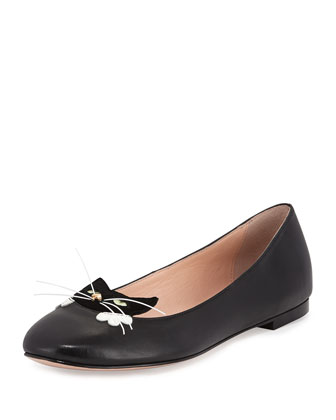 whiskers kitty ballet flat, black