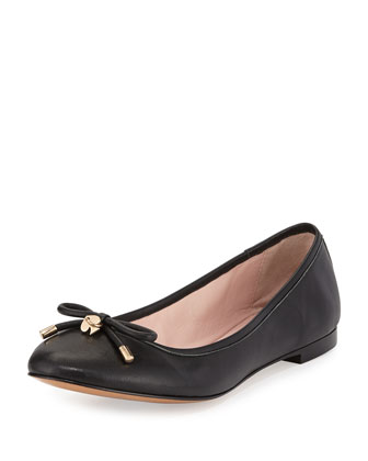 willa classic leather ballerina flat, black